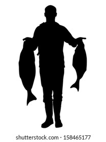 Vector of fisherman with two large Halibut