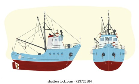 Vector fishing boat in retro style in two perspectives for advertising, printed products and websites