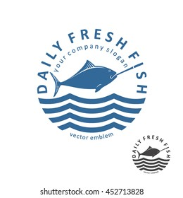 Vector fishing emblem. Daily fresh fish logo