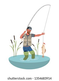 Vector Fishing. Fisherman with big fish. Flat style colorful Cartoon illustration.