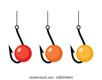 vector fishing hooks and red, orange and yellow baits isolated on white.background. fish bait and hook icons.