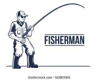 Vector fishing label, emblem with rod and fisherman.