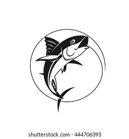 Vector fishing logo. Catching tuna on the hook. Stock vector illustration in one color.