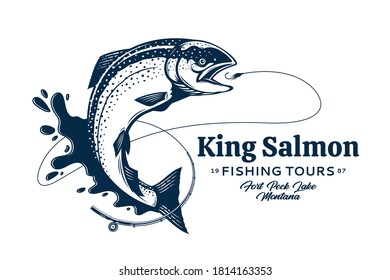 Vector fishing logo with salmon fish, fishing rod, line, hook and water splash. Fishing tournament, tour and camp illustrations