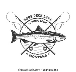 Vector fishing logo template with salmon fish, fishing rods, lines and hooks. Fishing tournament, store, tour and camp illustrations