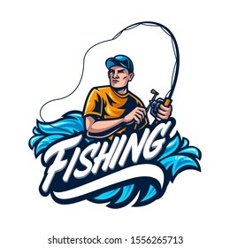 Vector of fishing logo in white background