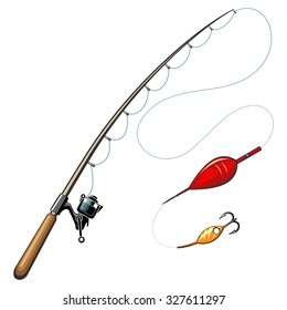 Vector fishing rods. Catch and hobby, sport equipment, fish hook, object tool illustration