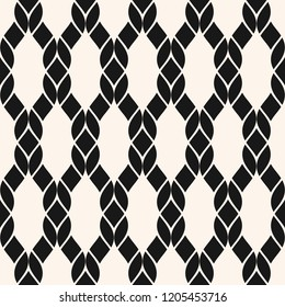 Vector fishnet seamless pattern. Black and white geometric nautical texture with mesh, net, weave, knitting, grid, lattice, fabric, ropes. Abstract monochrome background. Repeated decorative design