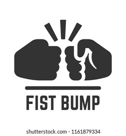 Vector fist bump simple flat icon of two fight hand or together punch for business team, partnership and dispute illustration.