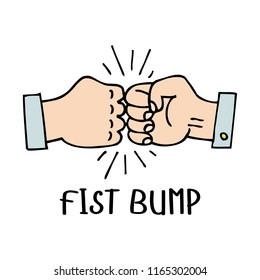 Vector fist bump sketch drawing icon of two fight hand or together punch for business clash, partnership and debate illustration.
