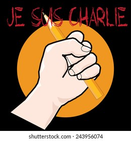 Vector fist with pencil with Je Suis Charlie title