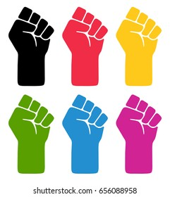 Vector fist symblos. Six different colored fist illustrations.