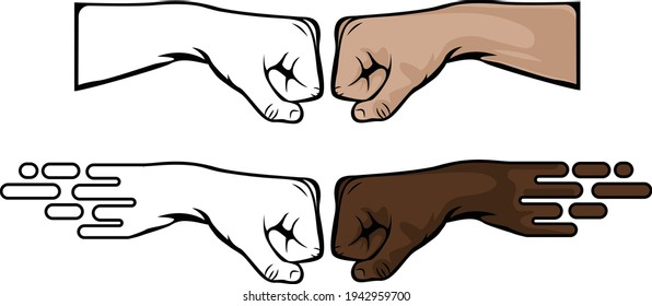 vector fistbump of white and black man showing unity of race and equality. Different styles of the hand arm can also be used as a non-violence posters and activities. Png punch gesture colored.