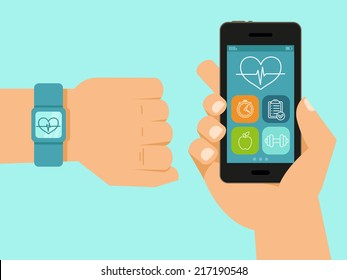 Vector fitness app on the screen of mobile phone and tracker on the wrist - illustration in flat style