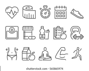 vector fitness health and sport icons set