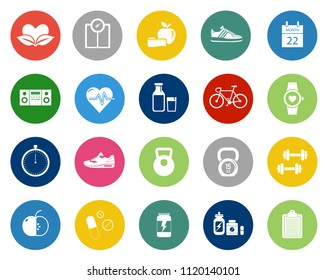 vector fitness icons - gym exercise illustrations, training muscle. sport icons