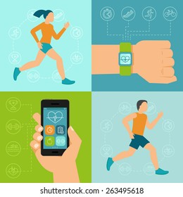 Vector fitness icons and illustrations in flat style - fitness tracker and running people - infographics design elements