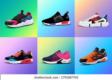 Vector fitness sneakers shoes for training, running shoe vector illustration. Sport shoes set on color gradient background.