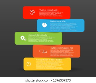 Vector Five color Boxes icons for text with shadow