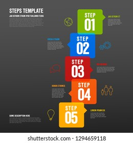Vector five steps progress infographic vertical template made from arrow bubbles and icons - dark version