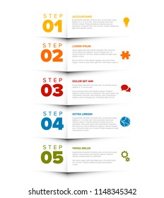Vector five steps progress template with descriptions and icons - vertical version