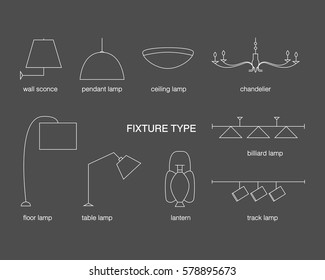 Vector fixture types. Lamp line icon set on a black background. Wall sconce, pendant, ceiling, chandelier, billiard, table, lantern, track, floor lamps