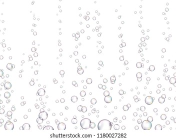 Vector fizzy drink stream isolated on white background. Underwater oxygen fizzing bubbles texture. Macro object