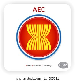 Vector flag ASEAN Economic Community: AEC 2015, isolated