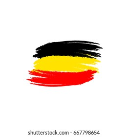 Vector flag of Belgium. Vector illustration for Belgian National Day. Belgium flag in trendy grunge style. Design template for poster, banner, flayer, web, greeting, invitation cards.