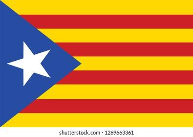 Vector flag of Catalonia. Catalonian flag. Autonomous community in Spain