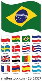 Vector Flag Collection. Poland, ghana, brazil, serbia montenegro, sweden, denmark, costa rica, cuba, united kingdom, egypt, cameroon, croatia, france, armenia, spain, argentina