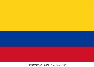 Vector flag of Colombia. Accurate dimensions and official colors. Symbol of patriotism and freedom. This file is suitable for digital editing and printing of any size.
