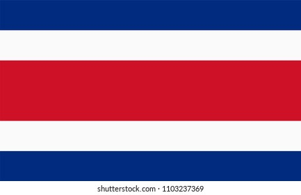 Vector flag of Costa Rica. Proportion 3:5. Costa Rican national tricolour flag. Tricolor.