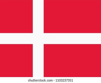 Vector flag of Denmark. Proportion 28:37. Danish national nordic or scandinavian cross flag. Dannebrog.