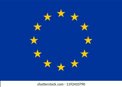 Vector flag of the European Union. Proportion 2:3. Flag of Europe. The European Flag. Twelve Golden Stars. Unity of Europe. EU Flag.