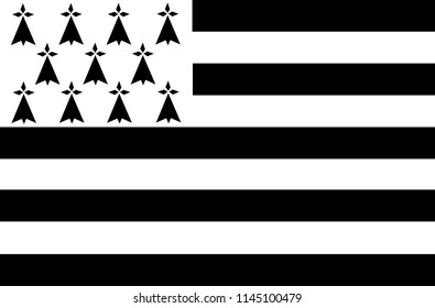 Vector flag of French Brittany region. Brittany province in France flag.