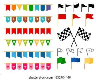 Vector flag garlands and start and finish flags for invitation card design, carnival bright cordage and child adornments isolated on white background