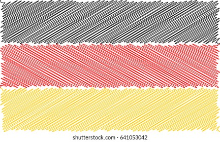 Vector flag of  German pencil drawing vector illustration. Using for decoration works. Deutsch