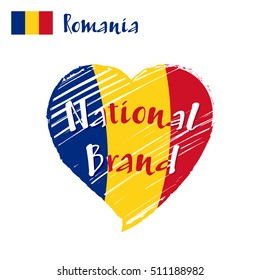 Vector flag heart of Romania, National Brand. Romania flag in shape of heart, pencil strokes drawing.