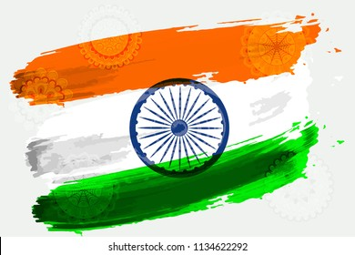 Vector flag of India in mandalas in the style of watercolor paints with a picture. Illustration for Independence Day of India August 15