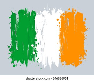 Vector flag of Ireland. EU country. Graffiti in grange style with brush strokes and paint splashes.