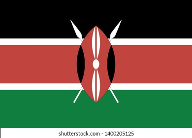 Vector flag of Kenya. Proportion 2:3. Kenyan national flag. Republic of Kenya.