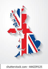 Vector flag map of the UK (United Kingdom) with cast shadow effect