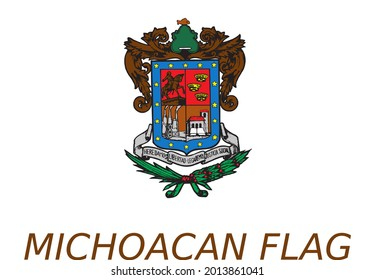 Vector Flag of Michoacan State in Mexico