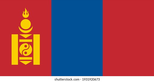 Vector flag of Mongolia. Accurate dimensions and official colors. Symbol of patriotism and freedom. This file is suitable for digital editing and printing of any size.