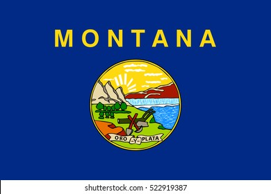 Vector flag of Montana. State symbol of Montana.