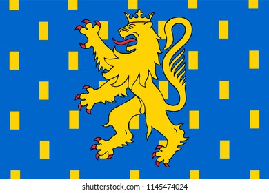 Vector flag of Nevers is the prefecture of the Nievre department in the Bourgogne-Franche-Comte region in central France.  Part of Burgundia.