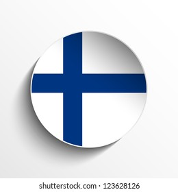 Vector - Flag Paper Circle Shadow Button Finland
