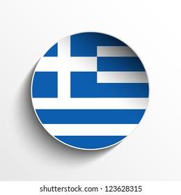 Vector - Flag Paper Circle Shadow Button Greece