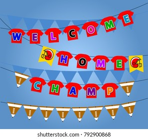 Vector flag party decoration of football winning celebration